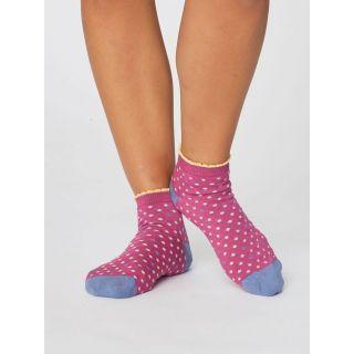 Socquettes femme pois magenta pink