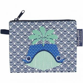 Porte monnaie Coq en Pâte bleu marine coton bio imprimé baleine