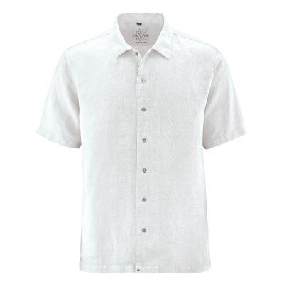 Chemise homme manches courtes 100% chanvre blanche