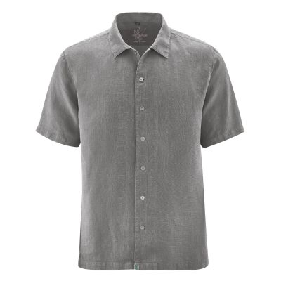 Chemise homme manches courtes 100% chanvre taupe