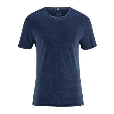 Tee-shirt jersey homme uni col rond manches courtes chanvre bleu marine