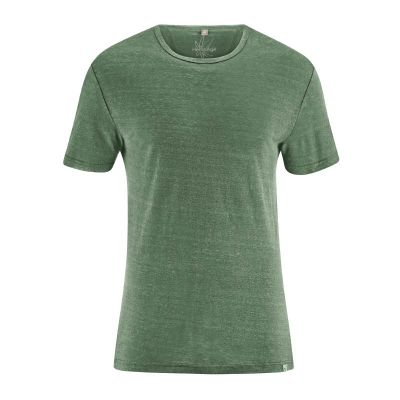 Tee-shirt jersey homme uni col rond manches courtes chanvre herbe
