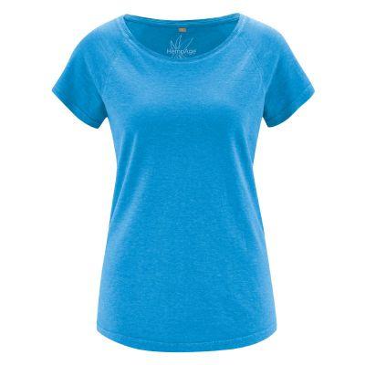 Tee-shirt uni femme manches raglan bleu topaze hempage