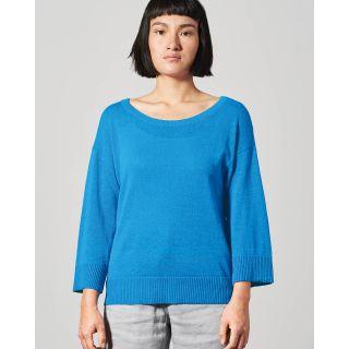 Pull léger encolure large tissu tricoté chanvre coton bio