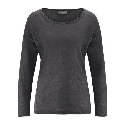 Pull léger femme 100% chanvre naturel tissu tricoté hempage gris anthracite