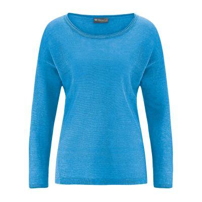 Pull léger femme 100% chanvre naturel tissu tricoté hempage bleu topaze