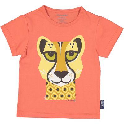 T-shirt enfant guépard couleur rose coton bio et écoresponsable face
