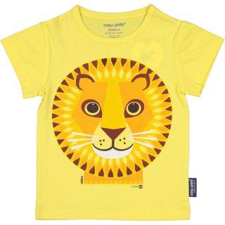 T-shirt enfant lion couleur jaune coton bio et écoresponsable recto