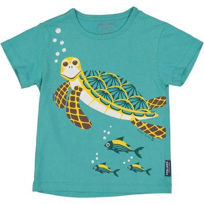 T-shirt enfant bleu vert tortue coton bio et écoresponsable recto