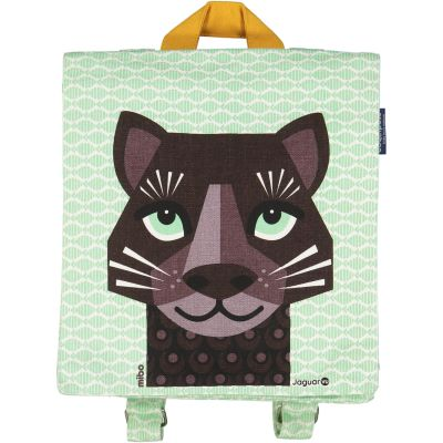 Sac à dos enfant couleur verte imprimé jaguar