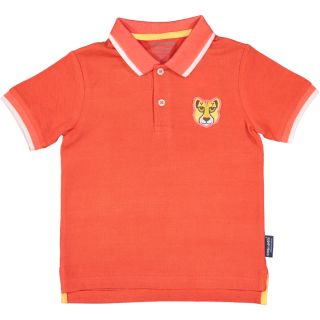 Polo rose enfant badge guépard recto