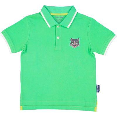 Polo vert enfant badge jaguar coton bio recto