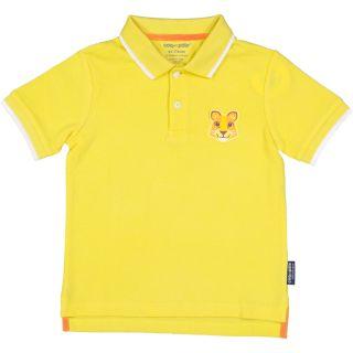 Polo jaune enfant lion coton bio et écoresponsable recto