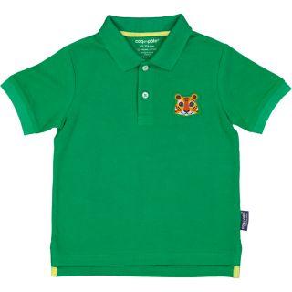 Polo vert enfant tigre coton bio et écoresponsable recto