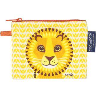 Porte monnaie Coq en Pâte jaune coton bio imprimé lion recto