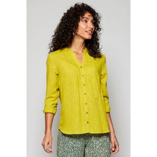 Chemise femme coton bio détail plissé couleur citrus