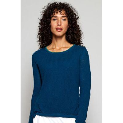Pull en maille texturée nomads clothing coton bio bleu sarcelle