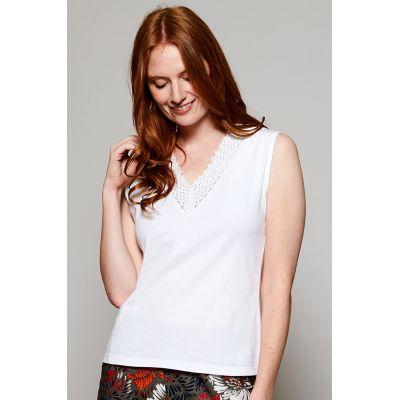 Débardeur femme détail brodé col v coton bio blanc