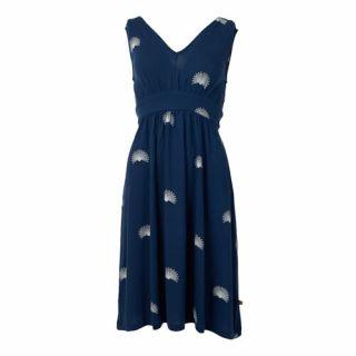 Robe bleu marine imprimé de paons