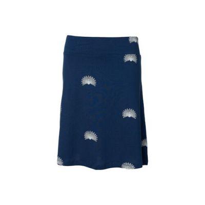 Jupe bleue marine longues Tencel imprimé paons