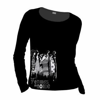 Tee-shirt noir manches longues coton bio et équitable Femmes du Monde