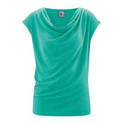 Top bleu drapé chanvre coton bio Sissy bleu émeraude