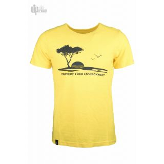 Tee shirt jaune chanvre coton imprimé Protect the environment