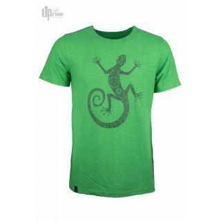 Tee shirt vert chanvre coton imprimé dun Gecko