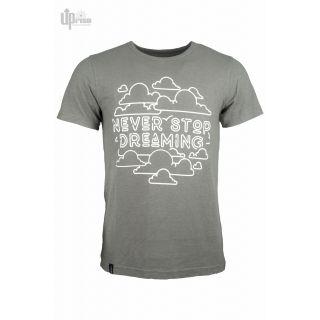 """Tee shirt gris en chanvre coton imprimé """"Never stop Dreaming"""""""