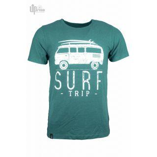 Tee shirt vert chanvre coton imprimé Surf trip