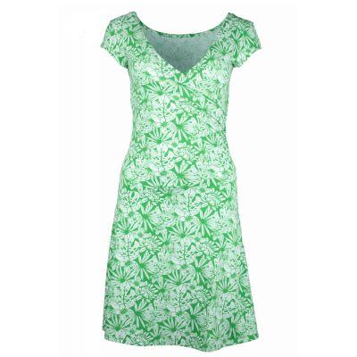 Robe verte éthique chanvre et coton bio imprimé fleurs