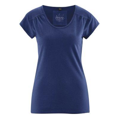 Tee-shirt femme décolleté manches courtes bleu nuit