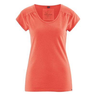 Tee-shirt femme décolleté manches courtes couleur crabe