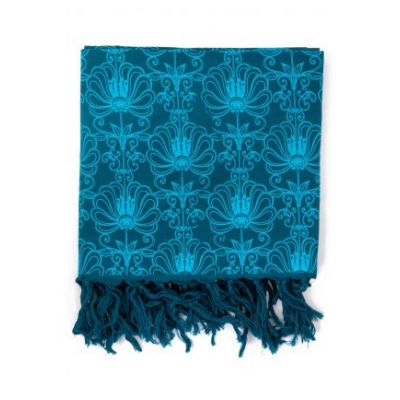Cheche bleu ethnic, fleurs