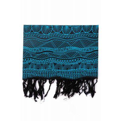 Cheche noir et bleu imprimé graphique, vagues