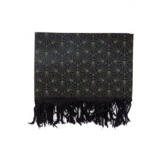 Cheche noir et kaki, imprimé géométrique, triangles