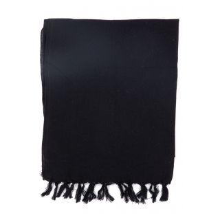 Cheche uni noir pur coton du Népal