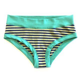 Culotte coton bio rayée bleu et jaune