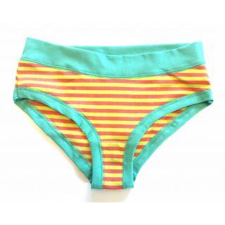 Culotte coton bio rayée orange et jaune