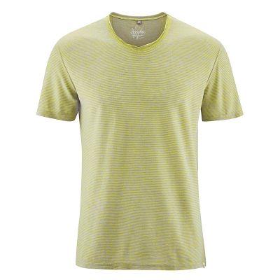 T-shirt col croisé chanvre mélange jaune gris