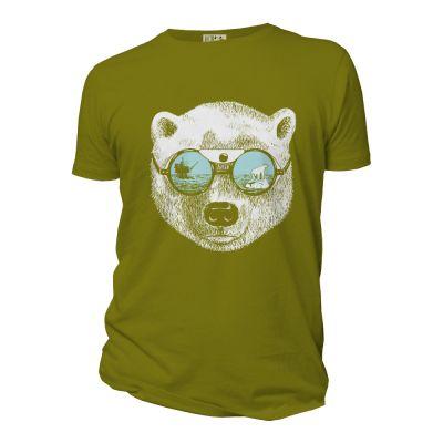 Tee-shirt homme vert anis coton bio imprimé la peau de l'ours