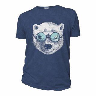 Tee-shirt homme bleu coton bio imprimé la peau de l'ours