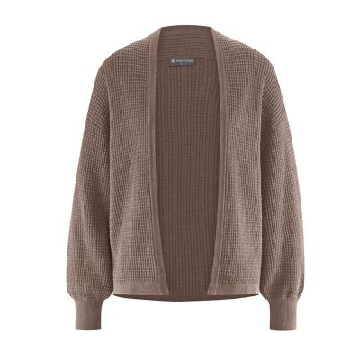 Pull cardigan chanvre et coton biologique marron
