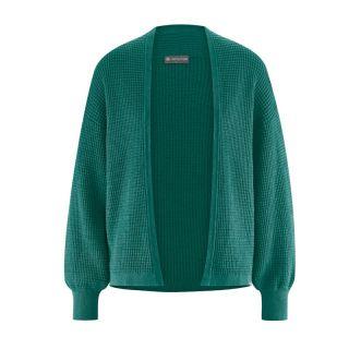 Pull cardigan chanvre et coton biologique vert spruc
