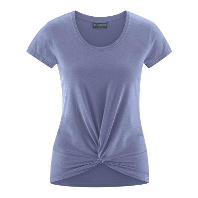 Tee shirt femme lavende pour yoga avec noeud