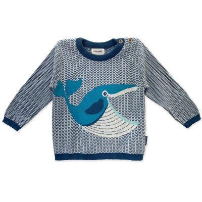 Pull enfant coton bio et laine Baleine