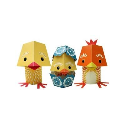 Paper toys - 3 poussins Sophia Le Hen, Eggory Peck, Cluck Gable