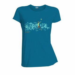 """T-shirt coton bio jalna """"Be different, Be free"""" bleu océan"""