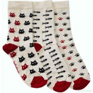 Lot de 3 chaussettes dépareillées chats, pas de chat et poissons