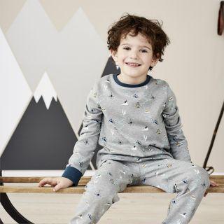 Pyjama enfant gris imprimé montagne